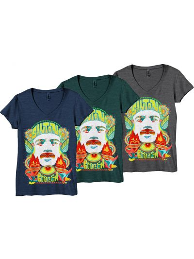 Santana - Corazon Face Juniors Deep V-Neck T-Shirt