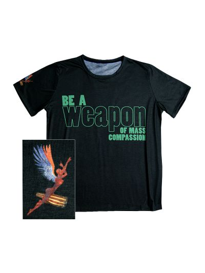 "Santana- ""Weapon of Compassion"" T-shirt is made of 100% Recycled Plastic Bottles!"